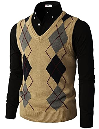 H2H Mens Casual Slim Fit Argyle V-Neck Golf Sweater Vest Of ...