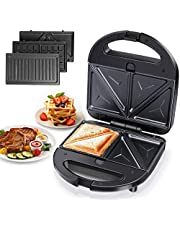 Contactgrill, elektrische tafelgrill, panini maker, sandwich maker, elektrische grill, 1500 watt, zilver
