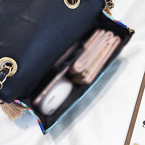 creative shoulder handbags version bags tassel single 2018 Korean Blue wvqYnvFtI