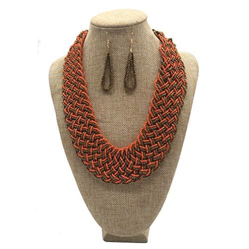 (JHWZAIY Wide Braided Seed Bead Multi Strand Statement Necklace & Earrings Set (Orange))