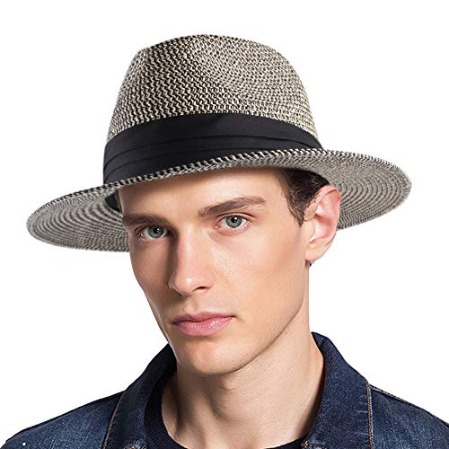 (Panama Roll up Hat Fedora Beach Sun Hat UPF50+ Braid Straw Short Brim Jazz Panama Cap for Women Men (One Size, beigeblack01))