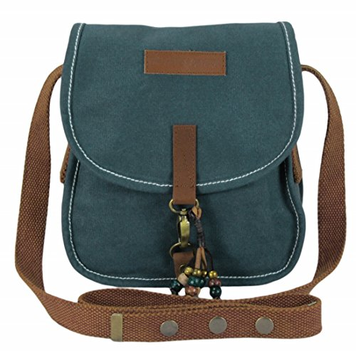 The House Of Tara Wax Coated Canvas Girls Messenger Bag (Small, Combat Blue)