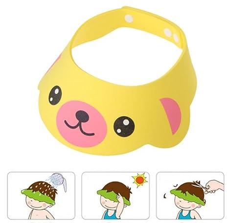 Gorro Ducha para Bebé Sombrero Ajustable del Baño Champú Casquillo Infantil Suave Creativo Animado para Niños para Lavarse el Pelo, Amarillo