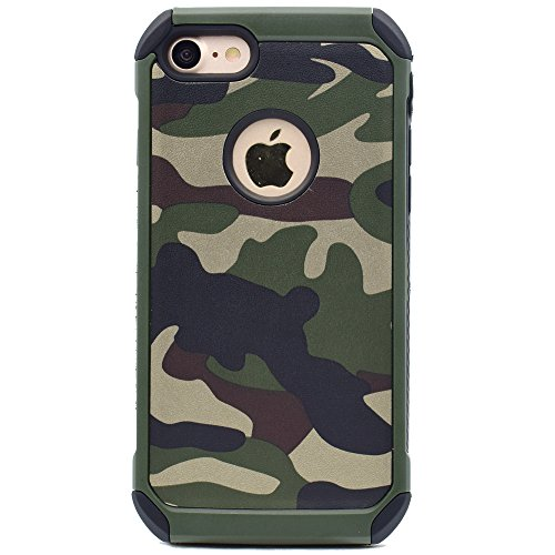 iPhone 5 5s SE Camo Case, 2 in1 Army Camo Camouflage Pattern Impact Armor Anti-knock Protective Back Cover Case for Apple iPhone 5/5s/SE (Green)