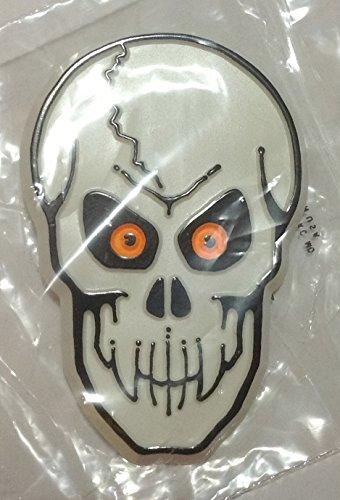 Hallmark Halloween SKULL with Orange Glow Eyes Skeleton LAPEL PIN Brooch Spook