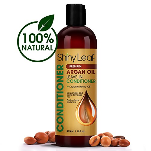 Shiny Leaf Organic Argan Oil Leave In Conditioner + Organic Hemp Oil – Anti Hair Loss Treatment - Rejuvenates and Treats Damaged Hair, Adds Volume and Shine, Sulfate and Paraben Free, 16 oz