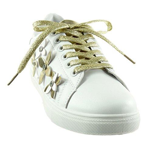 Talon 2 Diamant Chaussure Brillant Plat Cm Or Tennis Fleurs Mode 5 Strass Baskets Femme Angkorly xHqwP0zRq