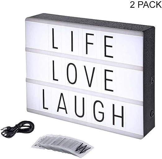 Eutuxia - Caja de luz con 60 letras decorativas, números y ...