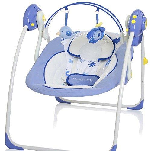 Elektrische Babyschaukel Automatische Baby Wiege Wippe Little World Dreamday blau