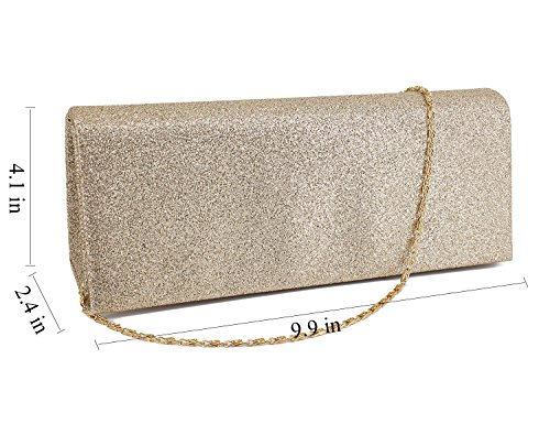 Shiny Womens Prom Wedding Gold for Sequins Bag Shoulder Gabrine Evening Party Purse Handbag Clutch Td0qqg