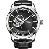 BUREI Men's Skeleton Automatic Wrist Watches with 24-hour Small Dial Black Leather Strap