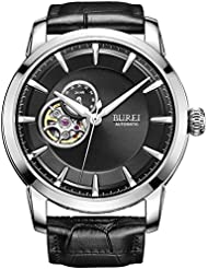 BUREI Mens Skeleton Automatic Wrist Watches with 24-hour Small Dial Black Leather Strap