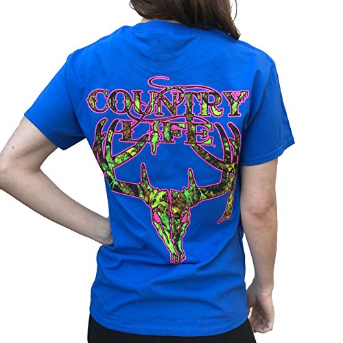 Country-Life-Camo-Deer-Skull-Royal-Blue-Pink-Short-Sleeve-Shirt