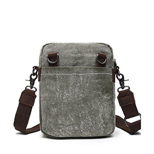 mefly el nuevo folk estilo bolso de piel de hombre, de lona bolsa de hombro para hombres y mujeres, Black grey Black grey