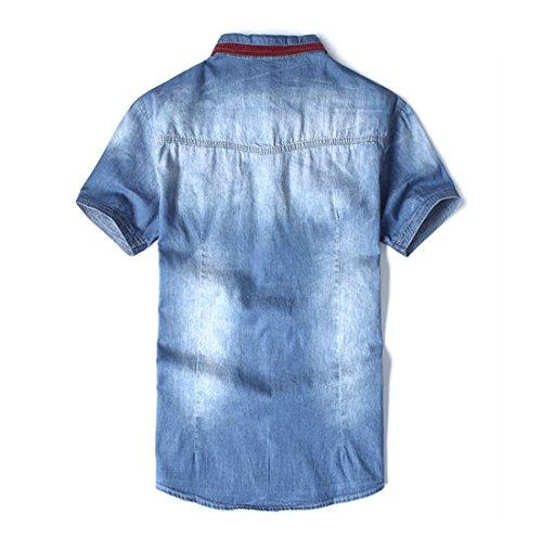 Court Revers De Manche La Poche De L'Ete Hommes Complete Chemisier Lave Jeans M-3Xl Nouvelle