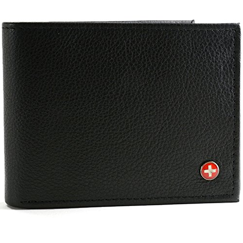 RFID SAFE Alpine Swiss Men's Leather Wallet Hybrid Bifold with Flipout ID (Shark Men For Wallets)