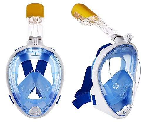 (2018 REDESIGN) Full Face Snorkel Mask, 180° Panoramic view full mask, Easy breathe, Anti-fog, Anti leak, anti-glare Snorkeling Gear, Go Pro mount, Adult and Kids snorkel sets. (S/M)