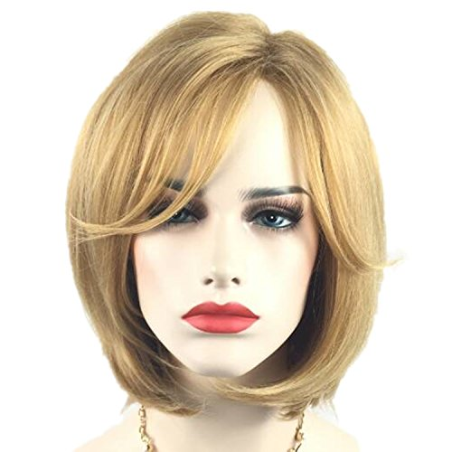 Fashionable Womens Blonde Short Bob Wigs With Bangs And 1 Wig Cap Fun Natural Wigs For Daily Cosplay Party Fun Wig013