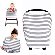 Kyapoo Baby Nursing Breastfeeding Cover Multi-Use Flexible Unisex Super Soft 100% Organic Cotton Gray
