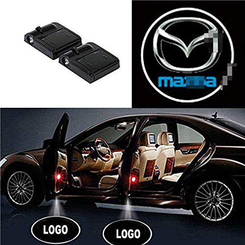 Lntly 2 Pcs Wireless Car Door LED Logo Shadow Ghost Light Welcome Laser Projector Logo Lights Laser Emblem Lamps Kit (Mazda)