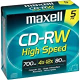 Maxell MAX630025 CD Rewritable Media, CD-RW, 4x, 700 MB, 5 Pack