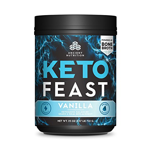 Ancient Nutrition KetoFEAST Powder, Vanilla, 15 Servings - Keto Diet Meal Replacement with Ketogenic Superfoods for Ketosis and Energy by Ancient Nutrition