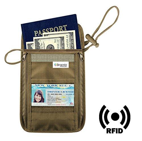 Travel Wallet Neck Pouch - RFID Passport Wallet - High Quality Hidden Travel Wallet - Neck Passport Holder - Durable Travel Passport Wallet -Lifetime Guarantee - By Bingonia
