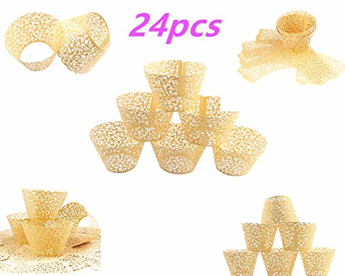 Yansanido 24 set gold Filigree Artistic Bake Little Vine Lace Laser Cut Cupcake Wrapper for Christmas Wedding Party Cup Muffin Case Trays Collars Wrappers (24pcs gold)