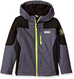 32 DEGREES Weatherproof Little Boys' Weatherproof Outerwear Jacket (More Styles Available), Hooded Shell Charcoal Heather Print/Black, 5/6