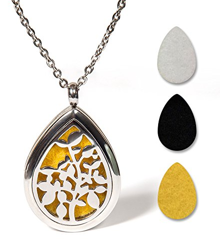 SAMRO #1 Rated Aromatherapy Essential Oil Diffuser Necklace Jewelry Top Quality Stainless Steel Locket Pendant - Perfect Way to Boosts Your Mood All Day - with 24 Inch Chain + 3 Reusable Washable Pads (Terracotta Is What Clay)