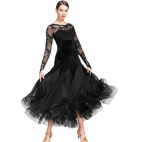 new style d4812 1d2f1 Wangmei Abiti da Ballo Standard Nazionali per Donne Costume da Competizione  Velluto Pizzo Cucitura Vestito da Sociale Tango Moderno Sala da Ballo ...