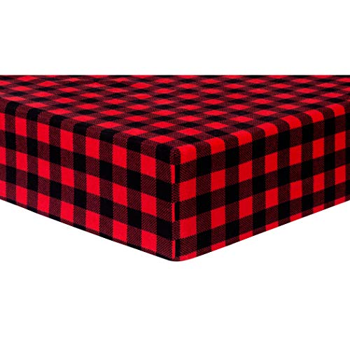 Trend Lab Deluxe Flannel Fitted Crib Sheet, Red & Black Buffalo Check