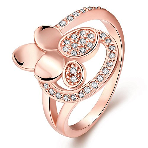 Romantic Elegant Rose Gold Plated Cubic Zirconia Rings - Clover (To Best Buy Curtains Inexpensive Place)