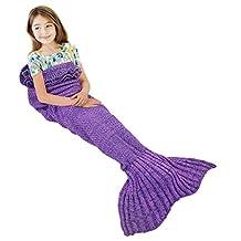 Mermaid Tail Blanket, NOT HOME® Warm and Soft Mermaid Blanket, Knitted Blankie Tails, All Seasons Cozy Sleeping Bags for Kids (Purple)
