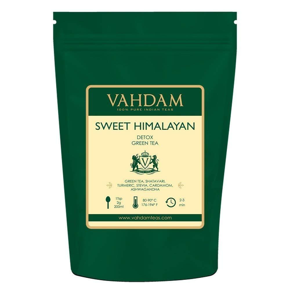 VAHDAM, Sweet Himalayan Detox Green Tea Loose Leaf (100 Cups)  100% NATURAL DETOX TEA   Green Tea Leaves,Stevia, Turmeric,Shatavari,Cardamom,Ashwagandha  Brew as Hot Tea or Iced Tea  3.53oz (Set of 2) by VAHDAM