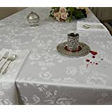 Roseberry Linen Concerto Spill Proof 6-Piece Tablecloth with 18 by 18-Inch Napkins, White