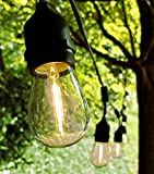 E26 Outdoor Commercial String Lights with Suspended Socket for Weatherproof Heavy Duty Vintage Outside Lighting (100 Foot 50 Socket, S14 LED Filament 1 Watt Bulbs)