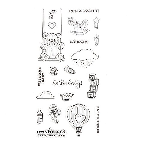 Baby Stamp Shower - DECORA Happy Baby's Shower Set Clear Stamps for Traveller's Notebook, Journal Accessories