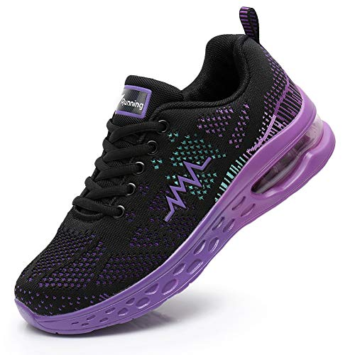 JARLIF Women's LT 2 Road Running Sneakers Fashion Sport Air Fitness Workout Gym Jogging Walking Shoes (8 B(M) US, PurpleBlack)