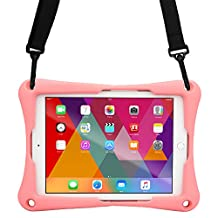 Acer Iconia Tab 10 A3-A30 case, COOPER TROOPER 2K Shoulder Strap Rugged Heavy Duty Tough Protective Drop Shock Proof Rubber Silicon Carry Kids Toy Work Holder Cover Bag, Stand (Pink)
