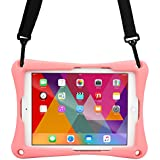 10-10.4'' inch Tablet case, Cooper Trooper 2K Shoulder Strap Rugged Heavy Duty Tough Bumper Protective Drop Shock Proof Rubber Silicon Carry Kids Toy Work Holder Carrying Cover Bag, Stand (Pink)
