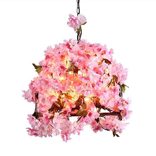 FF Chandelier Wrought Iron Chandelier Simulation Flower Chandelier Bedroom Simple Modern Warm Romantic Party Chandelier (Color : Pink, Size : 505040CM) ()