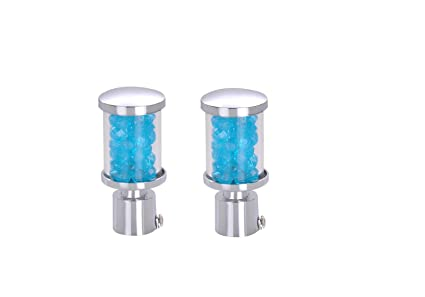 ROD RAIL CURTAIN FINIALS/LATTU FOR DOOR & WINDOW (PACK OF 2 PCS) ONLY FINIAL, COLOR GLASS BLUE