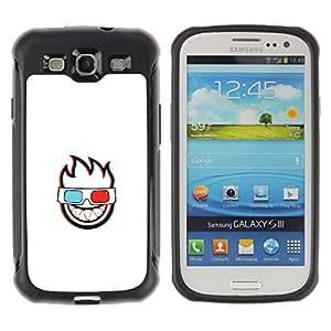 CASSO Cases / Samsung Galaxy S3 I9300 / 3D FLAMING FACE / Robusto Prueba de choques Caso Billetera cubierta Shell Armor Funda Case Cover Slim Armor