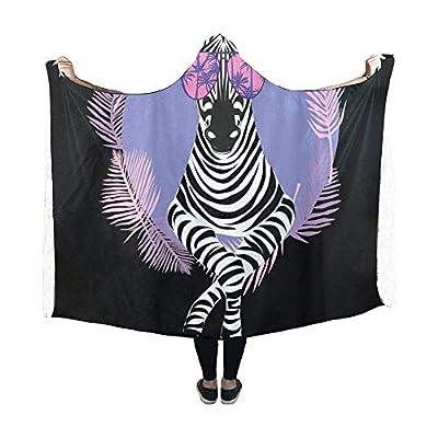 Dodom Cool Zebra in Sun Glasses Hooded Blanket Pilling Polar Fleece Hooded Throw Wrap