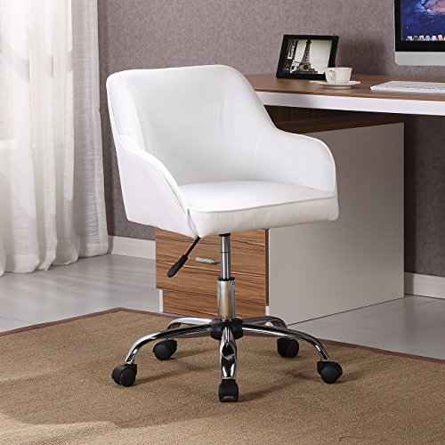 Belleze Mid Back Desk Task Office Chair Padded Seat Lumbar Support Velvet Fabric Adjustable Height, White