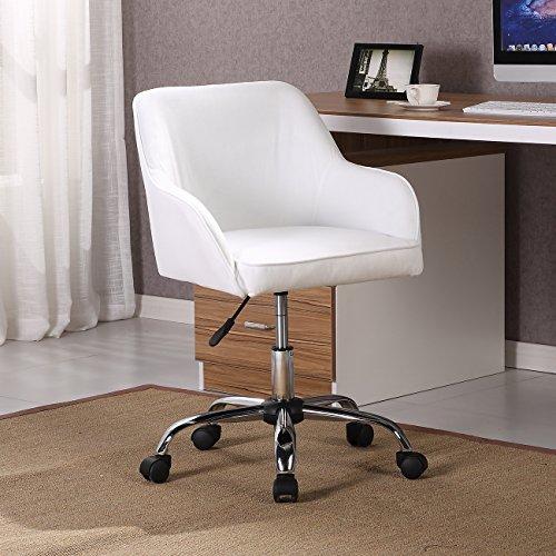 (Belleze Mid Back Desk Task Office Chair Padded Seat Lumbar Support Velvet Fabric Adjustable Height, White)