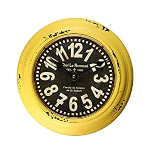 Adeco Yellow Iron Retro Vintage-Inspired Circular Wall Hanging Clock