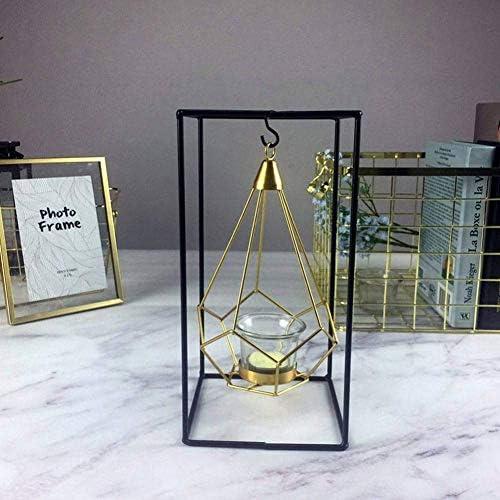 クリスマスキャンドルホルダーカップキャンドルホームデコレーションCandelabra結婚式のセンターピースの燭台、Dの幾何学的な金ガラス鉄キャンドルホルダー