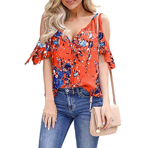 Long Sleeve Blouse Tops Shirt Summer Blouse Deep V-Neck Low Cut Cute Color Tops Flowy Camisole for Women Orange ()